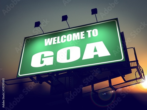 Billboard Welcome to Goa at Sunrise.