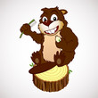 Smiling beaver cartoon character with a toothbrush