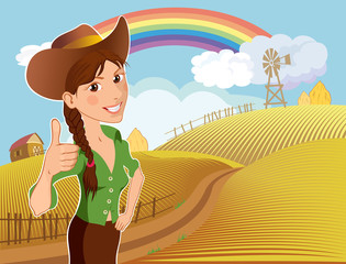Happy farm girl at the ranch after harvest