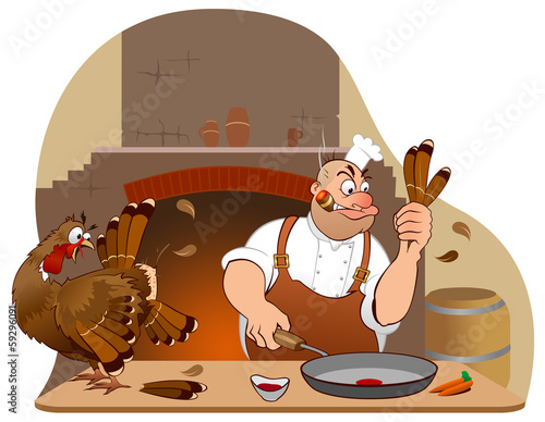 Thanksgiving turkey and chef cartoon characters