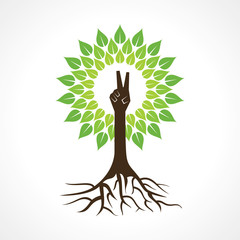 Victory hand make tree - vector illustration