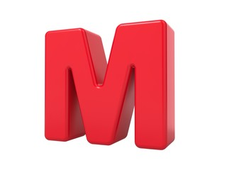 Red 3D Letter M.