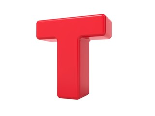 Red 3D Letter T.
