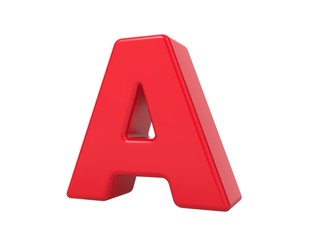 Red 3D Letter A.
