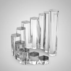 Sechseck Balkendiagramm aus Glas