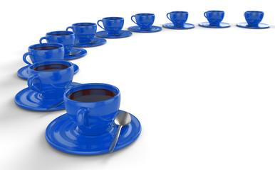 Blaue Kaffeetassen im Kreis 2