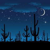 Saguaro Cactus at night. Vector background.