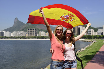 sport fans with Spanish flag in Rio de Janeiro