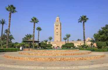 Minaret of the Koutoubia Mosque in Marrakesh, Morocco