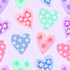 Watercolor seamless pattern for Valentine's day