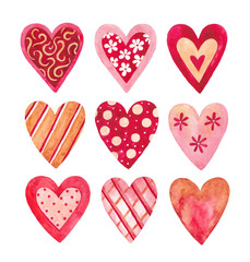 Watercolor hearts collection for Valentine's day