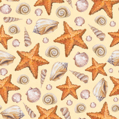 Artistic seamless pattern with watercolor shells and sea star