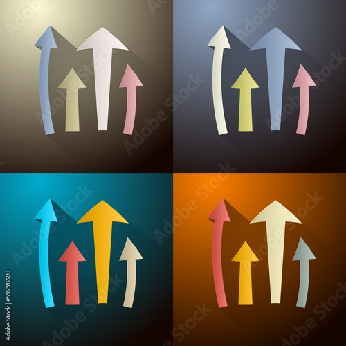 Retro Vector Arrows Set on Four Different Dark Backgrounds