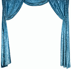 The photo of smart curtains from a blue satin velvet (not 3D)