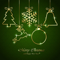 Christmas elements on seamless green background