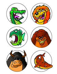 scary cartoon animals set 1