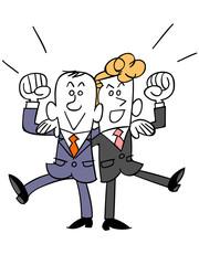 同僚と肩を組むビジネスマン