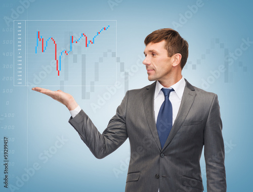 buisnessman showing forex chart