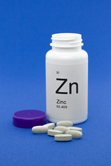 Open bottle of Zinc vitamins