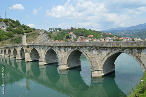 The old bridge from the 16th century on the Drina