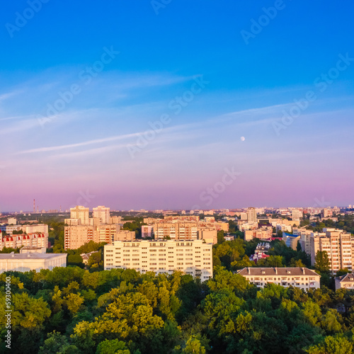Minsk (Belarus) City Quarter With Green Parks Under Blue Sky
