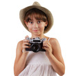 Cute girl with a film camera