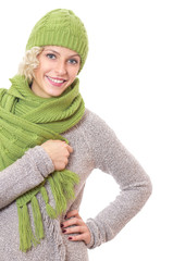 Portrait of a beauty woman wearing warm scarf