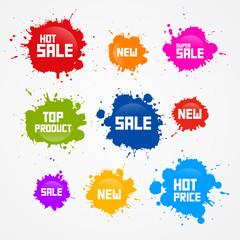 Colorful Vector Sale Blots, Splash Icons