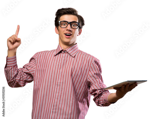 man raised his index finger