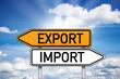 Wegweiser mit Export und Import