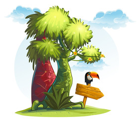Illustration jungle trees with wooden pointer and bird toucan