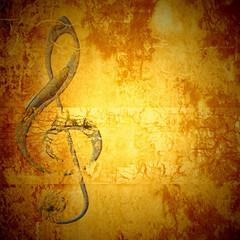 treble clef music card copy space