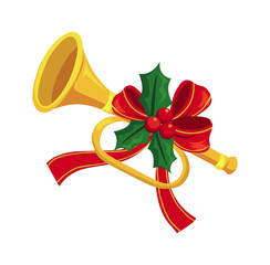 Trumpet decorated with holly