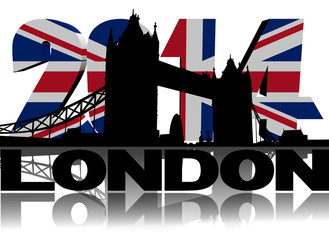 Tower Bridge London with 2014 British flag text illustration