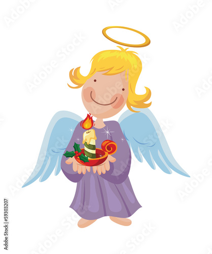Angel girl holding a Christmas burning candle in her hand