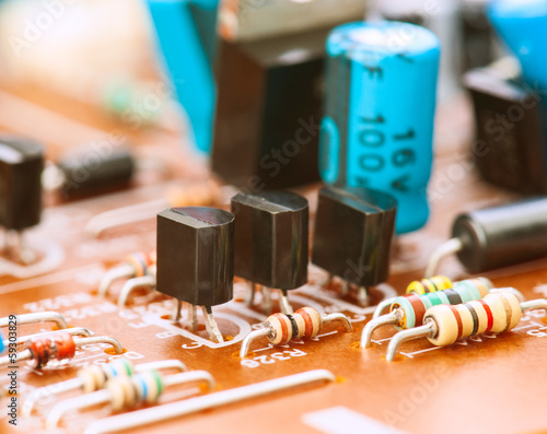 transistors capacitors resistors and other electronic components