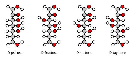 Common D-ketohexose sugars: psicose, fructose, sorbose, tagatose