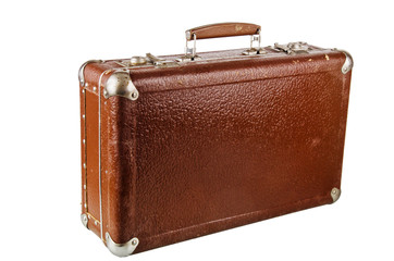 Old cardboard suitcase, isolated on white