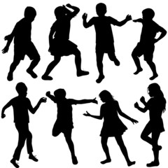Set of active children silhouettes