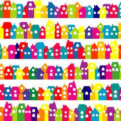 Background with colored doodle houses