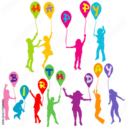 Happy birthday message with children silhouettes holding balloon