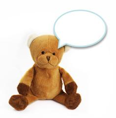 Teddy bear  speak communication bubble