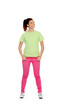 Funny pensive girl with pink jeans