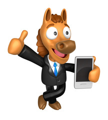 3D Horse Mascot the left hand best gesture and right hand is hol