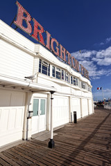 Brighton Pier sign with resident seagulls