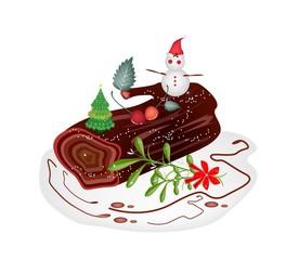 Traditional Christmas Cake or Yule Log Cake.