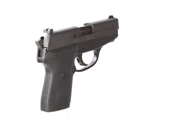 Rear angle view of a 40 caliber handgun