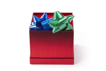 Opened gift box with bows inside.