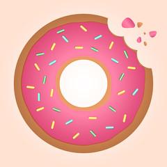 Bitten strawberry ring doughnut