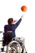 Disabled throwing basketball